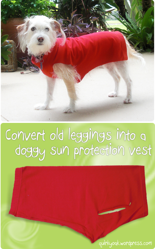 Make a sun protection vest for your dog from a pair of old leggings.